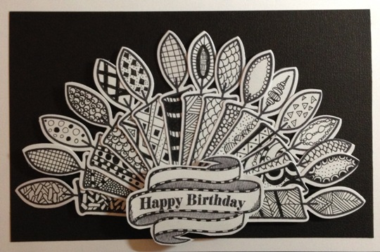 Sixteen Candles Zentangle Birthday Card